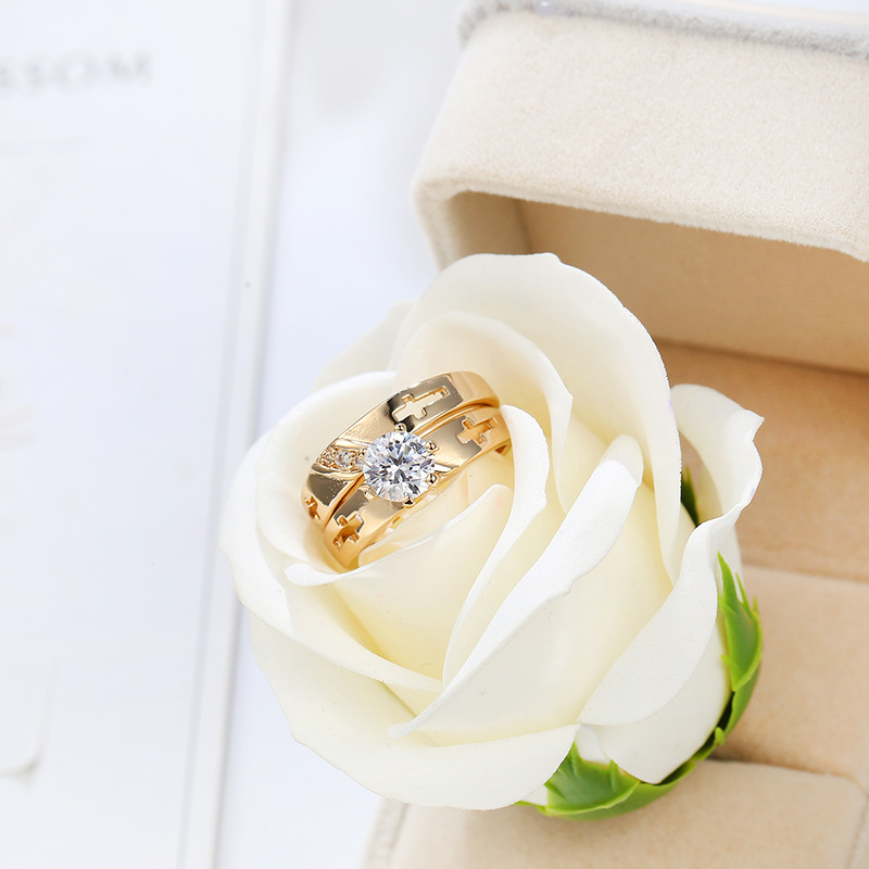 1 Pair Anti Allergy Cubic Zirconia Paved Engagement Jesus Cross couple Rings Sets Gold Color Crystal Wedding Jewelry For Women in Engagement Rings from Jewelry Accessories