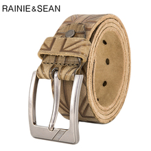 RAINIE SEAN Men Jeans Belt Real Leather Embossed Pin Buckle Fashion Khaki Brand Genuine Cowhide Male Waist