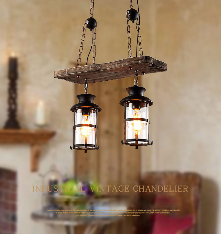 Vintage Retro Loft American Country Style Dual Heads Metal Droplight with Wood Panel Chain Pendant Light for Bar Cafe Inn - 4