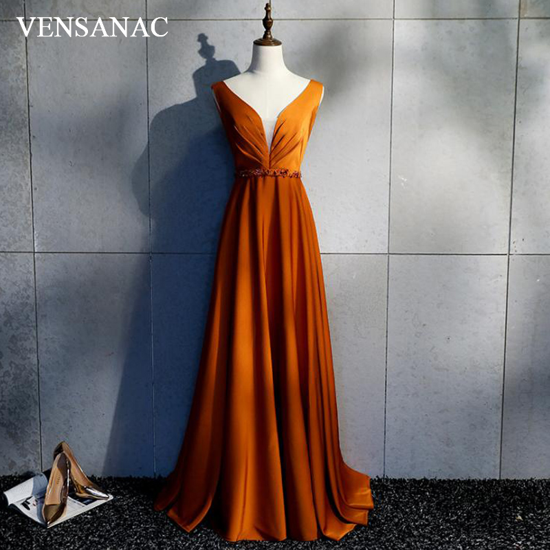 VENSANAC 2018 V Neck Crystal Appliques Sash Satin Long   Evening     Dresses   Party A Line Lace Pleat Backless Prom Gowns
