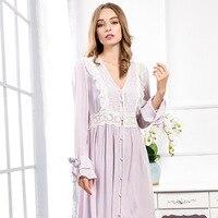 New Arrival Autumn Women's Purple Pure Cotton Gowns Lady Elegant Princess Nightgown Ladies Lace Long Sleep Dress Lounge L1509013