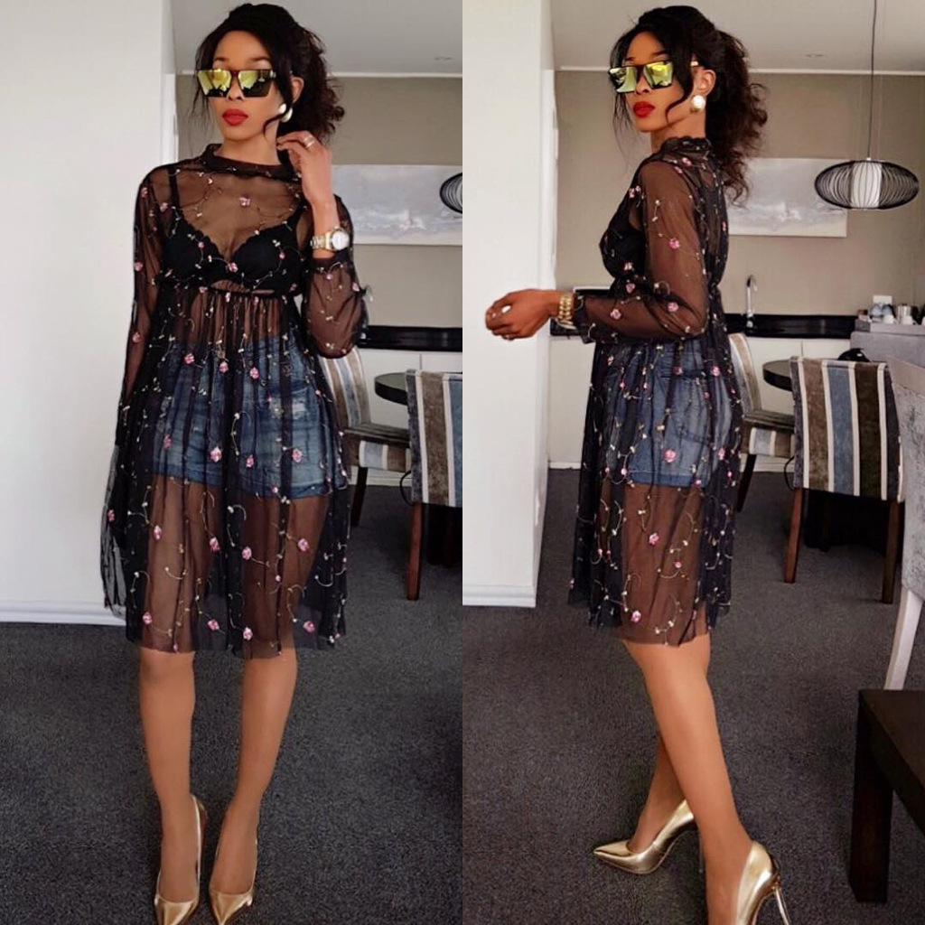 LAISIYI Fall 2018 Autumn Beading Mesh Dress Long Sleeve Elegant Sexy  Clubwear Office Formal Dresses Mini Vestidos ASDR21386USD 12.99 piece ef3d037ee816