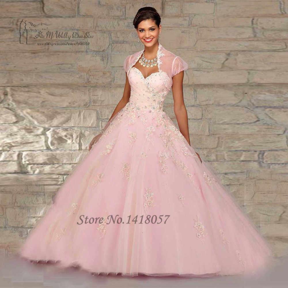 Puffy rosa barato quinceanera vestidos de baile vestidos 2017 com jaqueta rendas debutante vestidos doce 16 vestidos de 15 anos contas