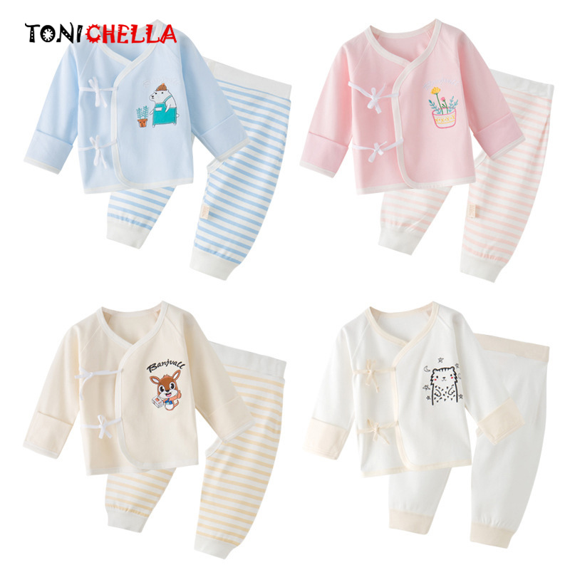 Baby Boys Girls Pyjamas Sets Kids Long Sleeve T-shirt Pants Fashion Cute Cartoon Pattern Unisex Sleepwear Clothing Set CL5260