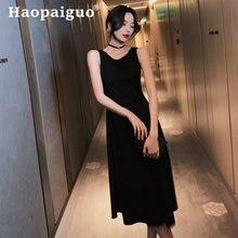 Женское платье корсет без рукавов черное облегающее вечернее