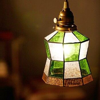 Японский дизайн в античном стиле потолочный светильник с E27 разъем/зеленый деревенский 15 см стеклянный шар тени/латунный навес