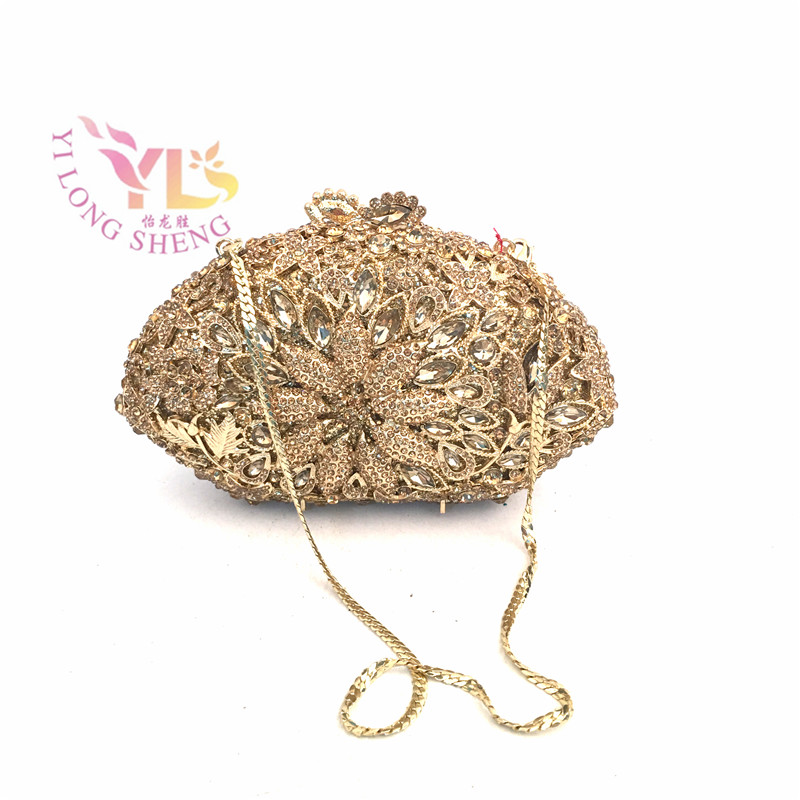 Women Clutch Bag Gold Diamonds Vintage Evening Bag for Evening/Event/Party/Cocktail/Dinner Occasion YLS-F56 european american dinner bag fashion handbags evening diamonds women wallets wedding clutch bag party bag gifts shell shape gold