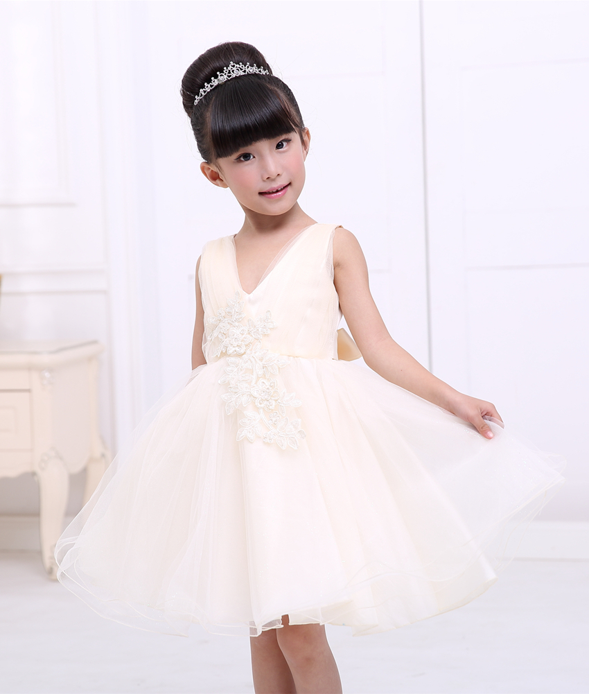 Girl Champagne Party Dress Code Number Is 3 12 Years Old Girls Wear Free Shipping Kids Clothes Vestido Ionfantil