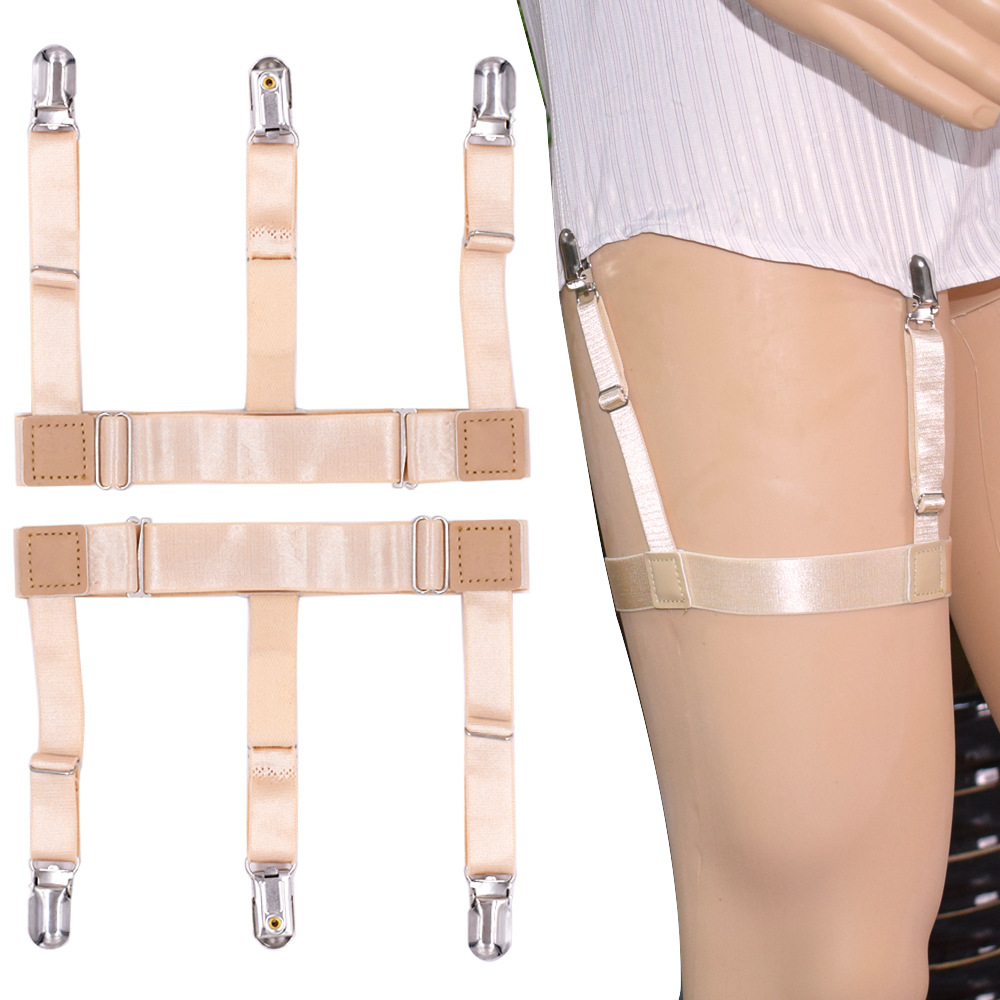 Adjustable Nylon Elastic Leg Suspenders Shirt Stays Holder Straps Metal Locking Clamps Skin Color Shirt Holders Men Suspenders