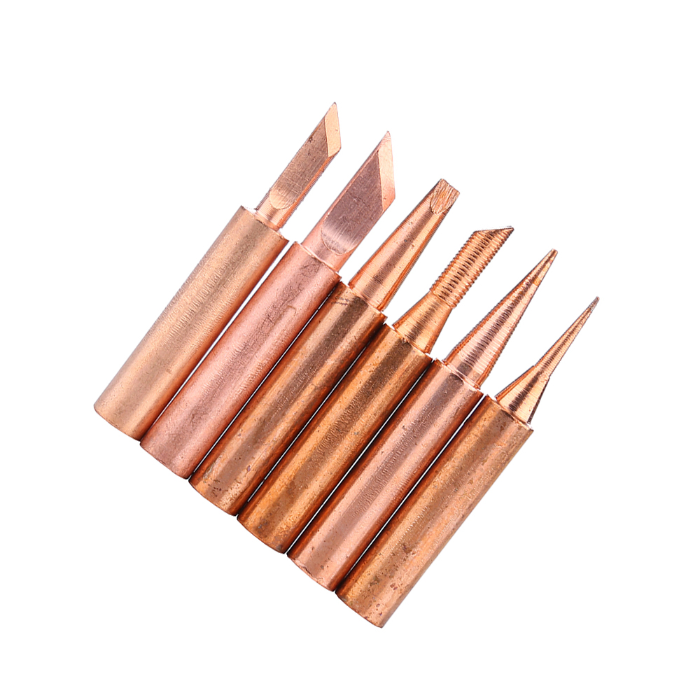 6pcs/lot 900M-T Copper Soldering Iron Tips Lead Free Solder Welding Sting For 936/937/938/969/8586/852D Soldering Station