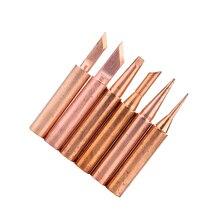 Pointes de fer à souder en cuivre 900M T, 6 pièces/lot, sans plomb pour Station à souder 936/937/938/969/8586/852D