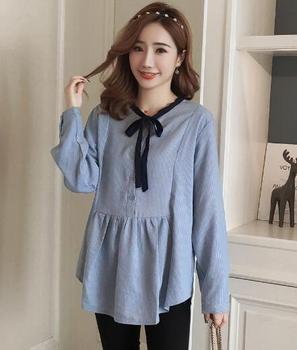 6c7791416 De maternidad de moda blusas primavera ropa de embarazada suelta Camisas  manga larga para las mujeres embarazadas rayas Tops