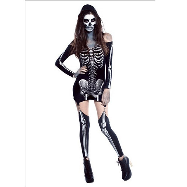 0f7285053c5 Halloween Dress Female body skin suit Skull Vampire Zombie Halloween  X-Rayed Skeleton Costume 40055