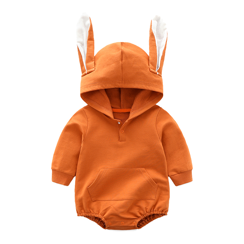 Newest 2018 Baby Rompers Long Sleeve Hooded Cute Rabbit Ears Infant Jumpers Kids Baby Outfits Baby Girl Boy Clothes 0-2Y