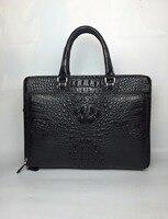100% натуральная/натуральной кожи крокодила Для мужчин Портфели сумка для ноутбука, топ Роскошные Для мужчин Бизнес сумка Роскошные Качество