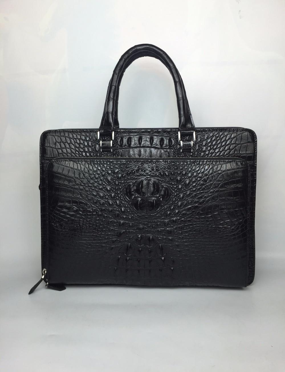 100% Genuine/Real Crocodile Skin Men Briefcase Laptop Bag, Top Luxury Men Business Bag  Luxury Quality Men Bag Crocodile Skin