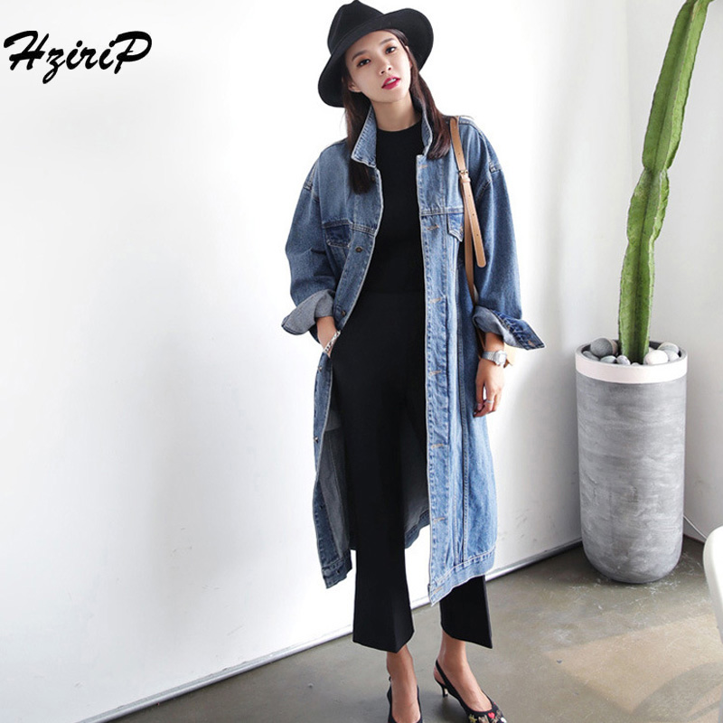 HziriP Women Long Denim   Trench   Coat 2018 Autumn Winter Casual Office Warm Long Single-breasted Lapel Loose Overcoat Plus Size