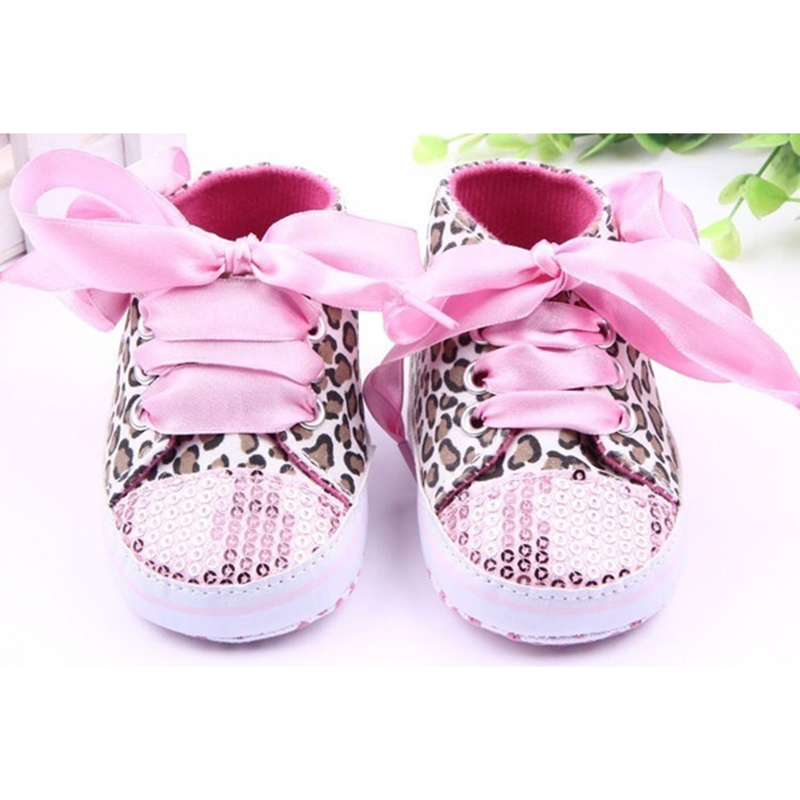 ABWE New Infant Toddler Leopard Sequins Sneakers Baby Girls Soft Sole Crib Shoes 6-9 Months 12cm pink