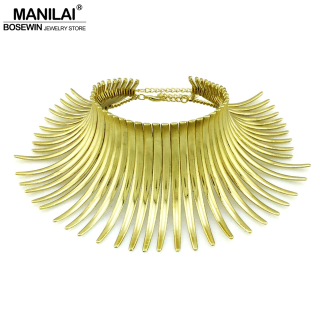 MANILAI Aboriginal Indian Bending Alloy Statement Choker Women Noble Bib Collar Necklace Maxi Jewelry Fashion Torques Big
