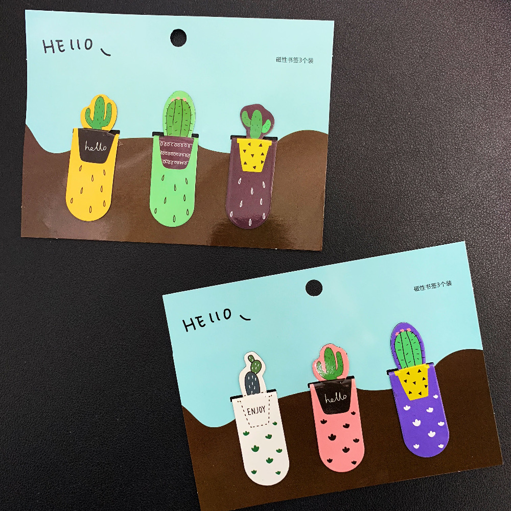 3pcs /Pack Fresh Cute Cactus Magnetic Bookmarks Book Marker Of Page Student Stationery School Office Supply