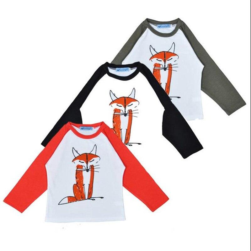 New 2018 Spring Baby Boys Girls Cotton Long Sleeve Patchwork T-shirts Tops Children Kids Cartoon Fox Jumpers Blouse Hot Sale