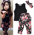 2016 Spring Baby Girl Set Black T shirt+Floral Trousers+Headband Girls Set Fashion Children Clothing Kids Clothes meninas vestir