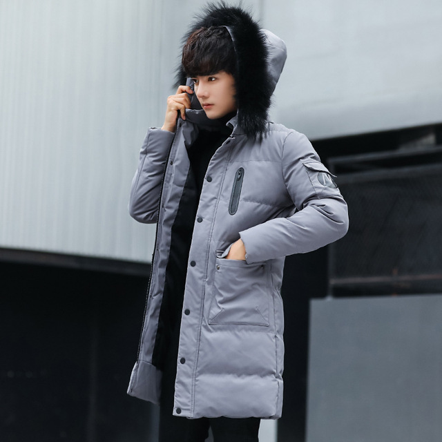 Suitable for teenagers to wear windproof warm winter clothes Men's down jacket men's cotton coat with hooded large fur collar