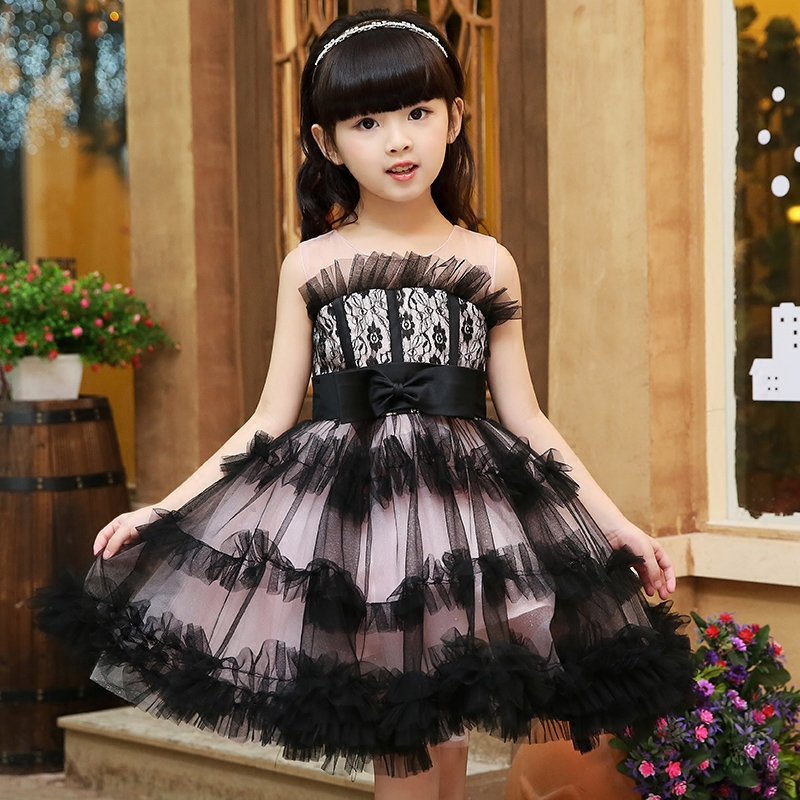 Elegant Sweet Princess Lace Embroidery Slim Girl Clothes Girl Dress Summer 2017 Prom Party Wedding Flower