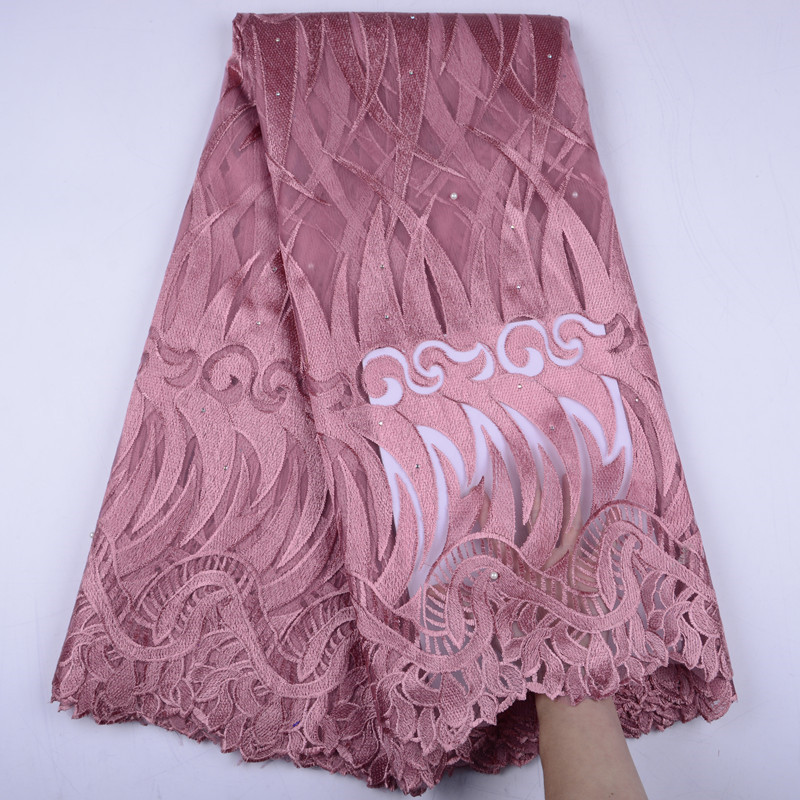 African Lace Fabric 2019 High Quality Pink French Lace Fabric With Stones African Voile Lace Fabric