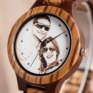 Image 3 - לוגו מותאם אישית הדפסת תמונה משלך גברים שעון ייחודי במבוק עץ שעוני יד מתנה יצירתית לאוהבים או משפחות