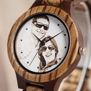 Image 3 - Custom LOGO Printing Your Own Photo Men Watch Unique Bamboo Wood Wristwatch Creative Gift For Lovers or Families