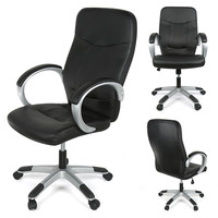 DOORSACCERY Grey Black PU Leather Lift Computer Chair Comfortable Office Bar Chair With Wheels Free Shiping
