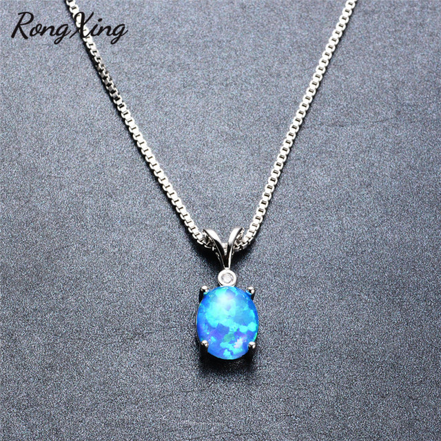 Rongxing stylish oval blue fire opal pendants necklaces for women rongxing stylish oval blue fire opal pendants necklaces for women fashion jewelry 925 sterling silver aloadofball Image collections