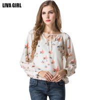 New Arrival 2017 Autumn Women Elegant Loose Floral Chiffon Shirts Lady Classic Casual Full Sleeve Tops