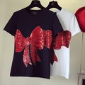 2016 brand spring and summer fashion new loose lips sexy 3D tee shirt embroidered bow sequins Girl tee leisure top code