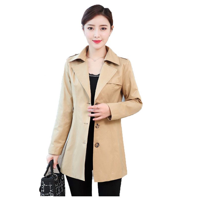 Spring autumn   trench   coat women 2019 new korean slim 2XL plus size Khaki pink red long sleeve fashion windbreaker feminina JD432