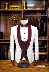 Белые свадебные костюмы для мужчин, винно-красный пиджак с отложным воротником, официальные смокинги для жениха, блейзер для выпускного веч...