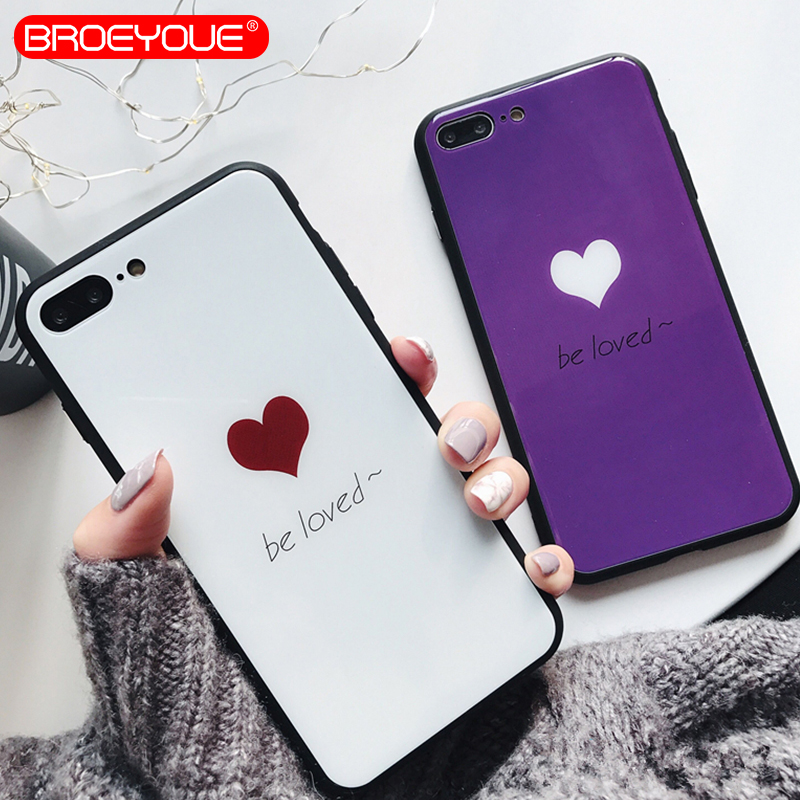 BROEYOUE Tempered Glass Phone Cases For iphone X 6 6S 6plus 7 7Plus 8 8Plus Glossy Hard Back Cover Shell For iPhone 8 Plus Coque