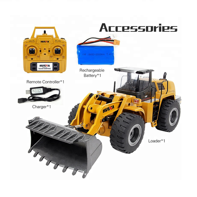 HUINA RC Excavator,583 2.4G 1:14 Remote Control Construction Toy Bulldozer Vehicle Model Engineering Car Toys for Kids