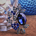 Trendy Antique Silver Plated Vintage Brooch Pins Women Wedding Accessories Brand Blue Opal Austrian Crystal Broches Broche Lot