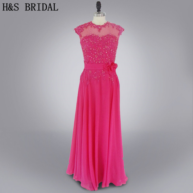 new product 6e31c 35ad6 US $119.0 |Real photo 2017 All'ingrosso girocollo Appliques prom abiti  lunghi in chiffon Fucsia abito da sera in Real photo 2017 All'ingrosso ...