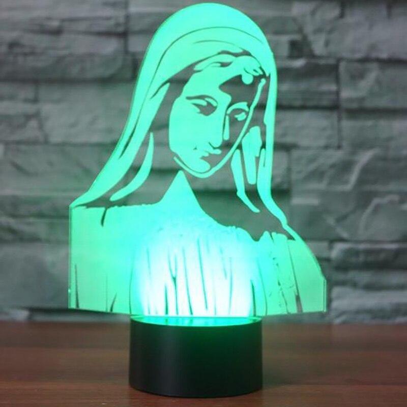 Новинка светодиодный ночник 7 цветов Изменение Девы Марии 3D настольная лампа для детей Подарки Спальня прикроватной тумбочке сна светильни...