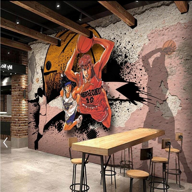 Custom photo wallpaper 3D Stereo Basketball Anime Characters Mural Corridor Restaurant Wallpaper Worn Wall Decorative Painting custom size photo customized 3d stereo sports wallpaper gym yoga basketball stadium playground wallpaper mural