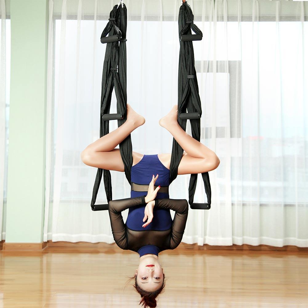 hamac de yoga noir, aerial fly yoga aérien