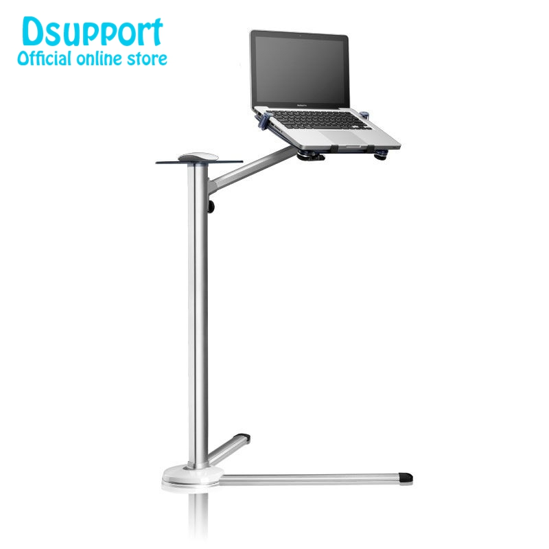 UP 7 360 Degree full Rotation Height Adjustable Laptop Floor Stand With Mouse Tray Aluminum Alloy