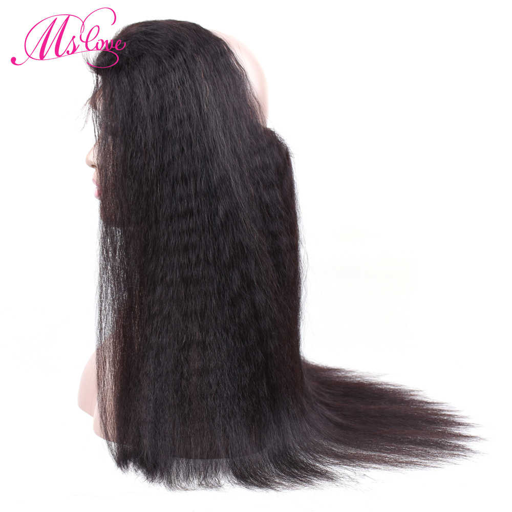 Ms Love Pre Plucked 360 Lace Frontal Closure With Baby Hair Remy Brazilian Kinky Straight Hair Bundles 100% Human Hair Closure