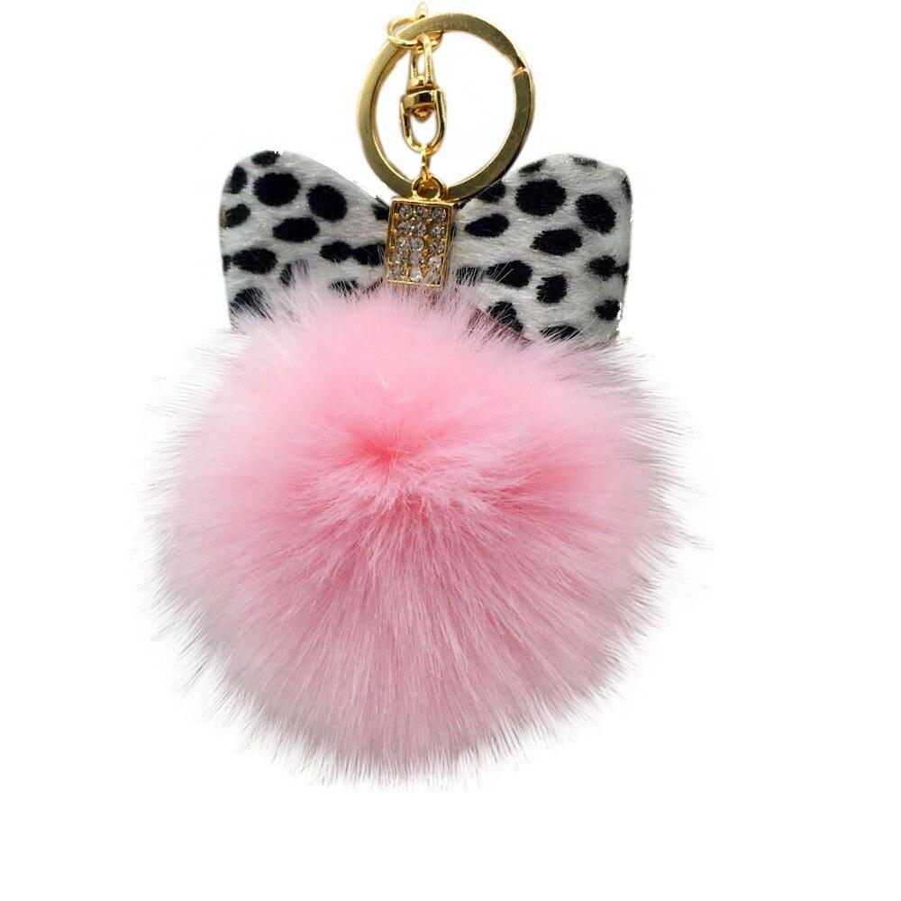 1PC Fluffy Faux Rabbit Fur Ball Bowknot Charm Car Keychain Handbag Key Ring Interior Accessories Free Shipping&Wholesale