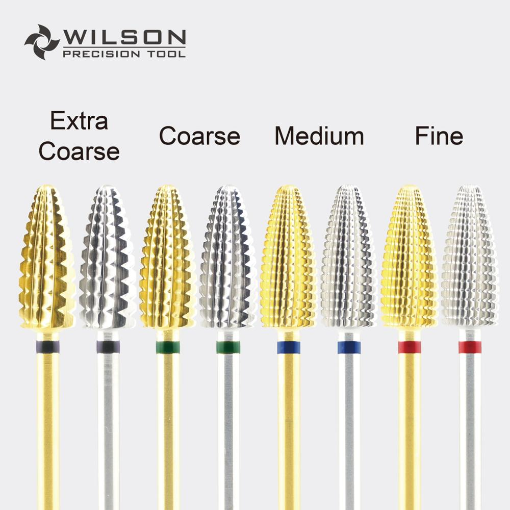 Typhoon Bit(Fastest Remove Acrylics&Gels)[Gold/Silver]-One Directional(for Right Hand Use Only)-WILSON Carbide Nail Drill Bit