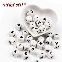 2mm 10 adet silikon boncuk mektup bebek diş kaşıyıcı boncuk sert adı emzik zinciri klipleri çiğneme alfabe boncuk bebek oyuncak 26 lett