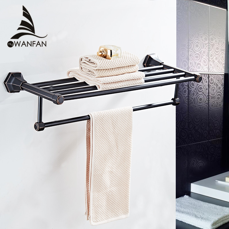 Bathroom Shelves High Quality Wall Mounted Black Chrome Finish Towel Rack Holder Hanger Bath Towel Clothes Storage Shelf 93012 2016 high quality oil black fixed bath towel holder brass towel rack holder for hotel or home bathroom storage rack rail shelf